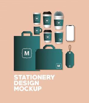 Mockup set with green branding