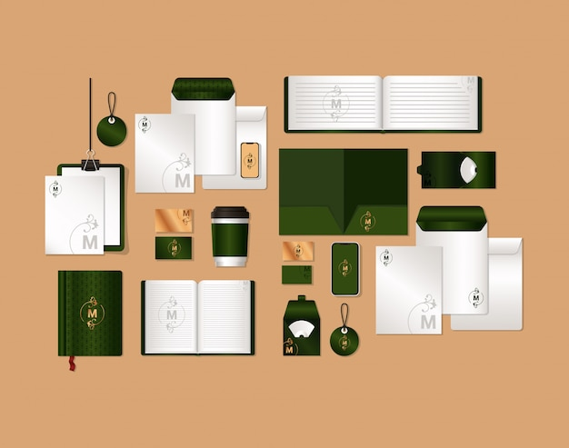 Mockup set with green and m branding of corporate identity and stationery design theme