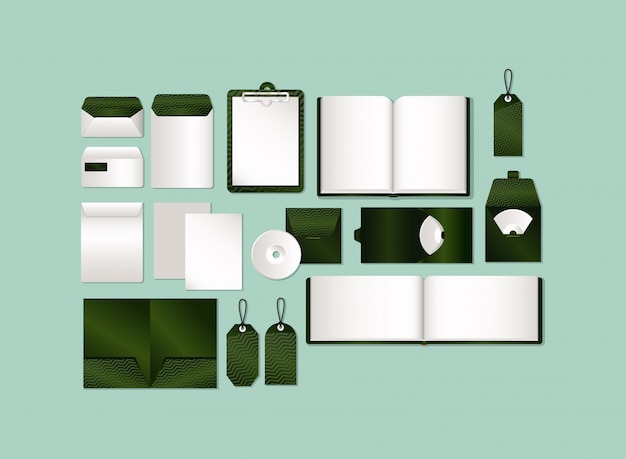 Набор макетов с полосатым зеленым брендингом фирменного стиля и канцелярской тематики