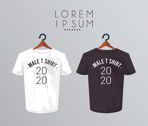 Мокап рубашки в прищепке и номер 2020.