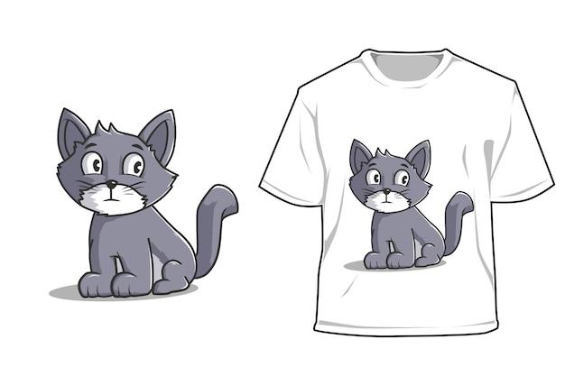 Макет сидеть кошка иллюстрации шаржа