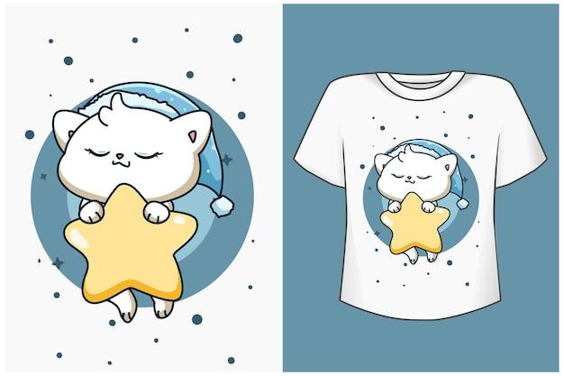 星の漫画イラストとモックアップ睡眠猫