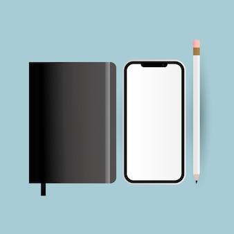기업의 정체성 템플릿 및 브랜딩 테마의 모형 스마트 폰 연필 및 노트북 디자인