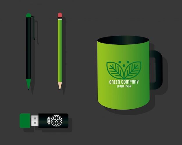 Макет канцелярских товаров поставляет зеленый цвет со знаком листьев, зеленый фирменный стиль