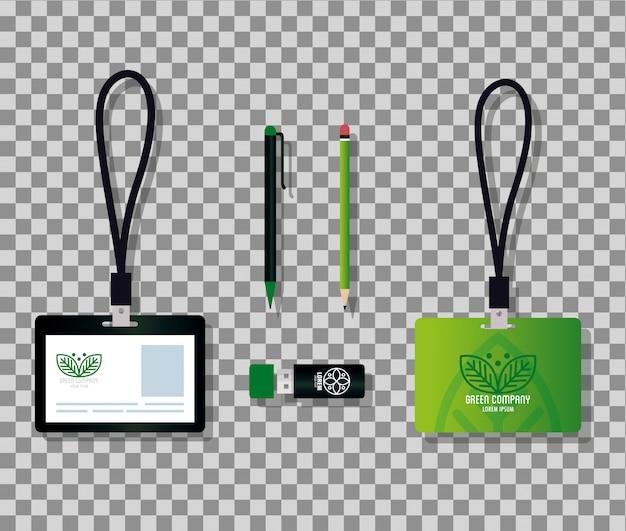 Мокап канцелярских товаров поставляет зеленый цвет со знаковыми листьями, фирменный стиль зеленый