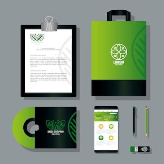 Mockup stationery supplies color green with sign leaves, green corporate identity