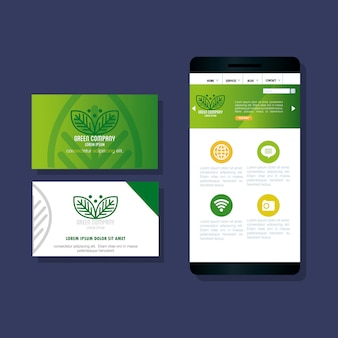 Mockup stationery supplies color green with sign leaves, green identity corporate