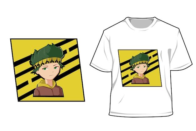 Mockup street boy headband cartoon illustration