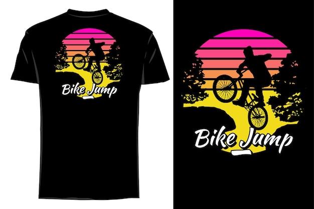 모형 티셔츠 실루엣 자전거 점프 복고풍 빈티지