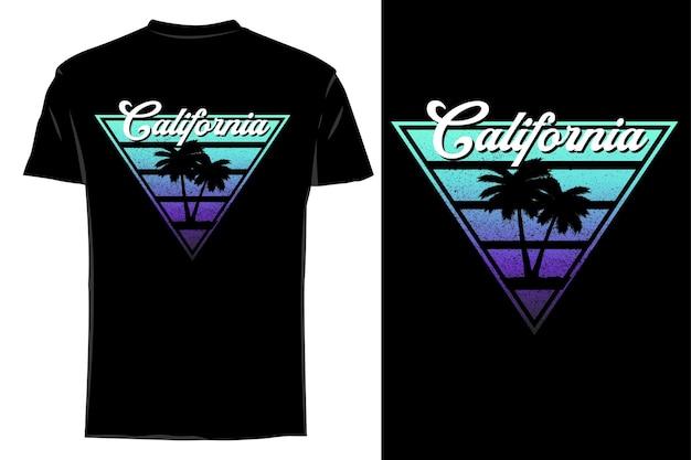 Mockup t-shirt silhouette california retro vintage