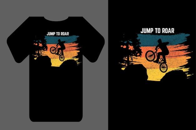 레트로 빈티지를 포효하는 모형 티셔츠 실루엣 점프