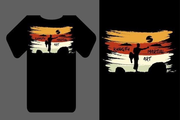 Мокап футболка силуэт боевое искусство ретро винтаж