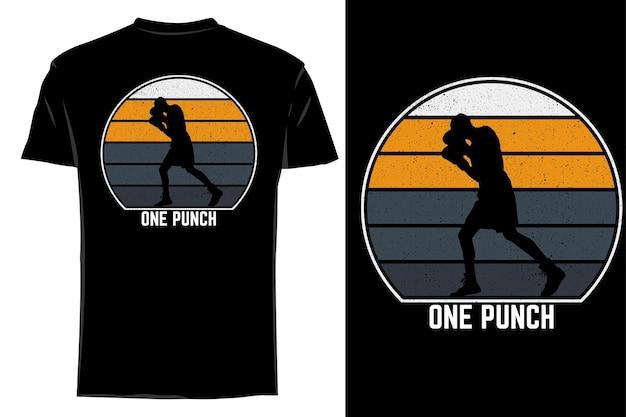 Mockup t-shirt silhouette one punch retro vintage