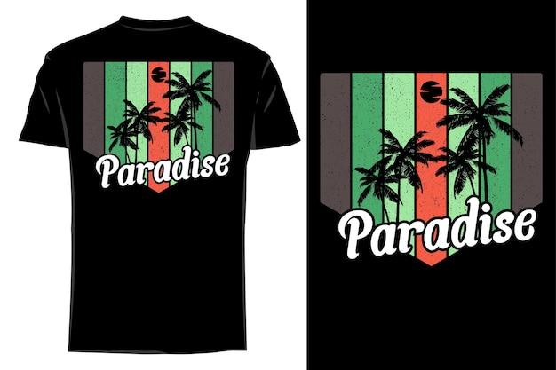Mockup t-shirt silhouette paradise retro vintage