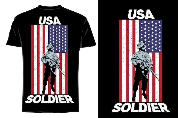 Мокап футболка силуэт солдат ретро винтаж