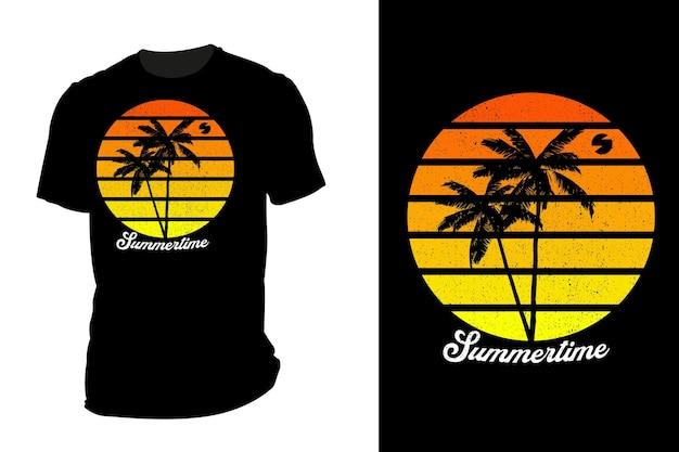 Mockup t-shirt silhouette summertime retro vintage