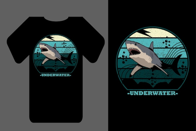 Mockup t-shirt silhouette underwater shark retro vintage