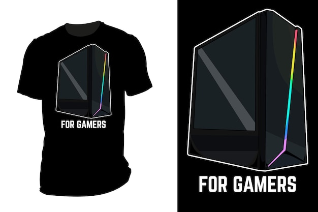 ゲーマーレトロヴィンテージのモックアップtシャツベクトル