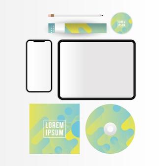 Макет планшета смартфона и дизайн компакт-диска шаблона фирменного стиля и темы брендинга