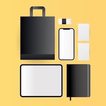 기업의 정체성 템플릿 및 브랜딩 테마의 모형 태블릿 스마트 폰 가방 및 노트북 디자인