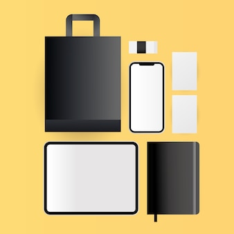 Mockup tablet smartphone bag and notebook design of corporate identity template and branding theme