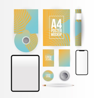 Mockup tablet smartphone cd and a4 poster design of corporate identity template and branding theme