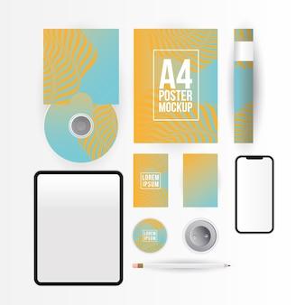 기업의 정체성 템플릿 및 브랜딩 테마의 모형 태블릿 스마트 폰 cd 및 a4 포스터 디자인