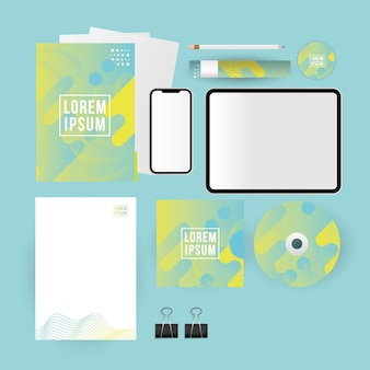 Mockup tablet smartphone cd and paper design of corporate identity template and branding theme
