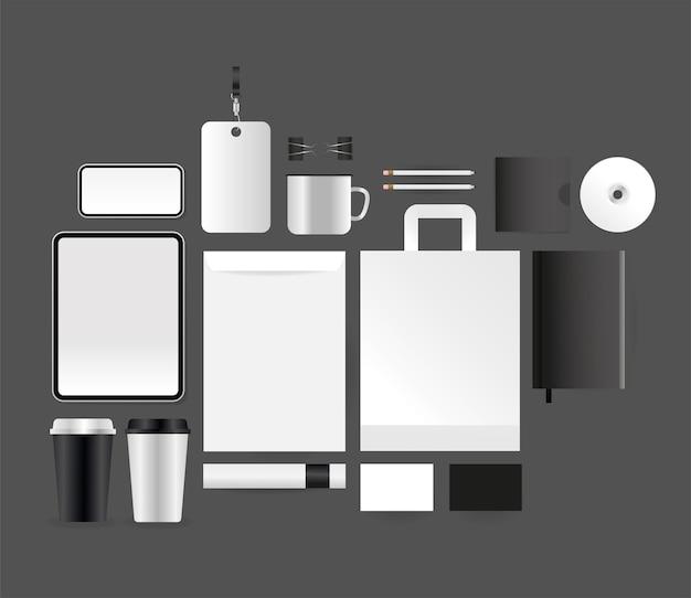 Мокап планшета смартфона, конверт и дизайн сумки, шаблон фирменного стиля и тема брендинга