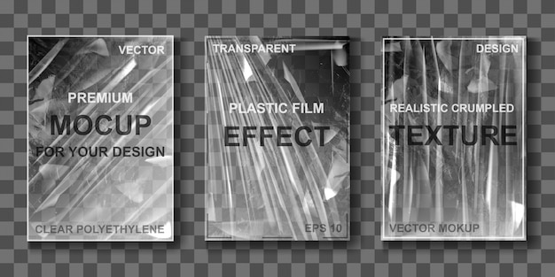 Mockup of transparent cellophane stretch film