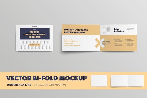 Mockup vector leaflet universal horizontal orientation brochure for design presentation