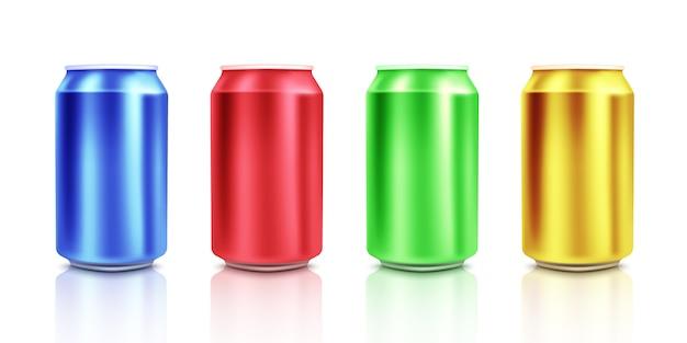 白地にカラフルな缶。 mockup.vectorイラスト
