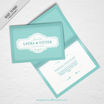 Mockup of wedding invitation in vintage design