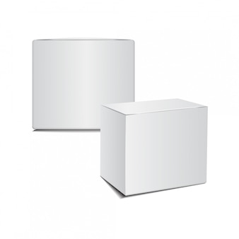 Mockup white cardboard plastic package box.