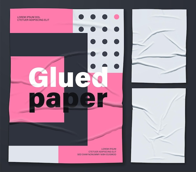Mockup of white glued wrinkled poster