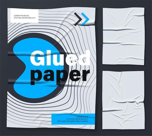 Mockup of white glued wrinkled poster Premium Vector