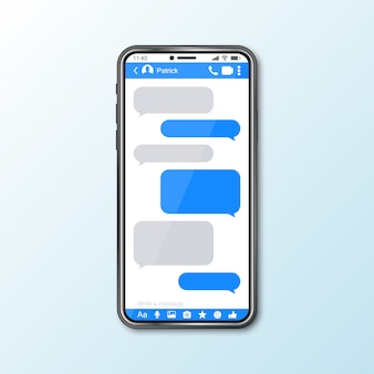 Mockup with smartphone with messenger window for social media