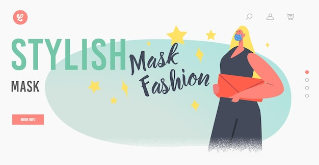 Model dressed in protective stylish face mask landing page template. female character woman wear trendy dress and bag presenting mask fashion during coronavirus outbreak. cartoon vector illustration