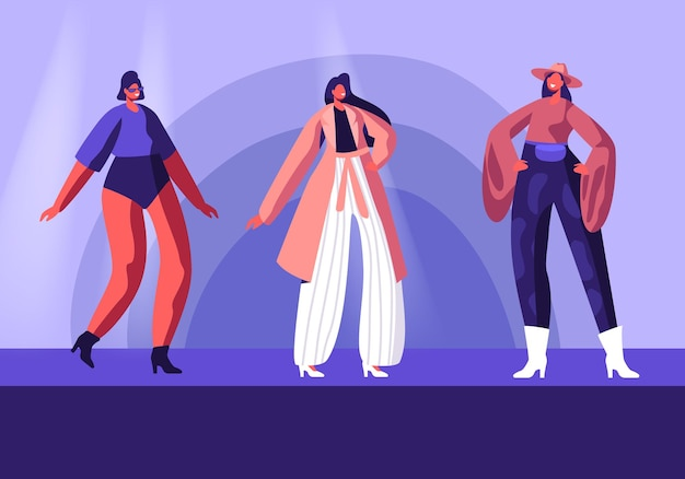 Model girls in fashioned haute couture clothing walking on runway demonstrating new collection of apparel. cartoon flat  illustration