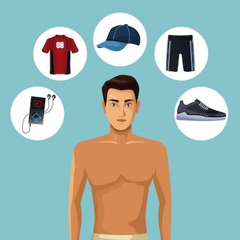 Модельный мужчина с одеждой одежды для одежды