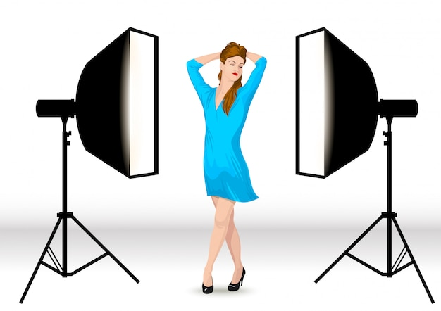 The model poses in the photostudio.
