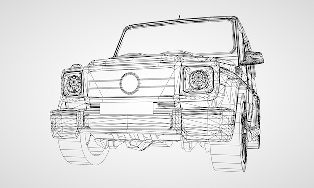 Model of premium frame suv with a classic design. vector illustration of a black polygon triangular grid on a gray background.