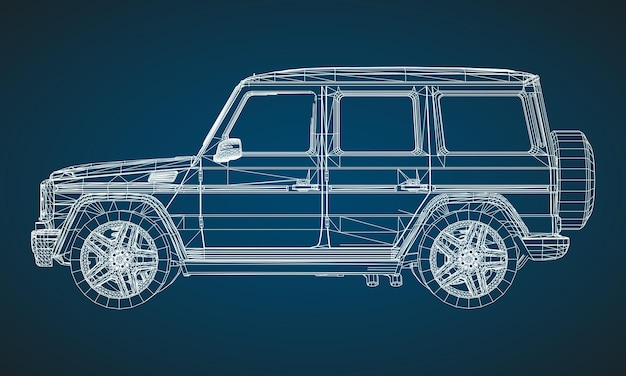 Model of premium frame suv with a classic design. vector illustration of a white polygonal triangular grid on a blue background.