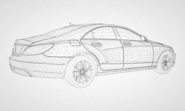 The model sports a premium sedan. vector illustration in the form of a black polygonal triangular grid on a gray background.