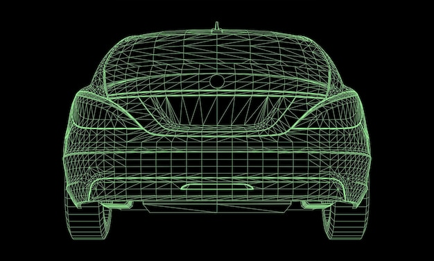 The model sports a premium sedan. vector illustration in the form of a green polygonal triangular grid on a black background.