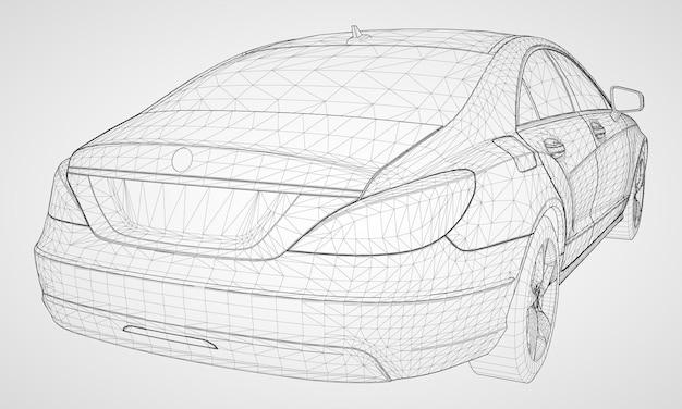 The model sports a premium sedan. vector illustration on a gray background.