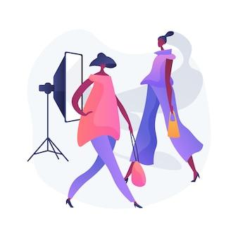 모델링 기관 추상 개념 벡터 일러스트 레이 션. 패션 산업, 모델 에이전트 비즈니스, 모델링 회사 서비스, 촬영 캐스팅, 남성 및 여성 모델 추상 은유에 대한 공개 요청.