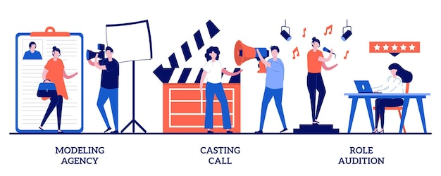 Modeling agency, casting call, role audition concept with tiny people. fashion and movie industry vector illustration set. commercial shootings, brand advertising, talent search, interview metaphor.