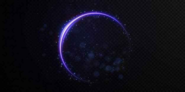 연단의 링 조명에서 라이트 트레일의 밝은 파란색 선 모델링.