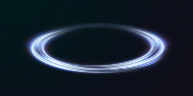 Моделирование голубых линий светового следа от кольцевой подсветки подиума.